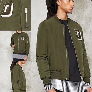 """Forever 21 """"D"""" Patch Bomber Jacket - NWT"""
